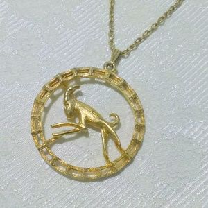 Vintage Aries The Ram Astrology Zodiac Necklace